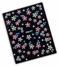 STICKERS ADESIVI 3D TIPS UNGHIE FRENCH TIP NAIL ART FIORI E STELLE
