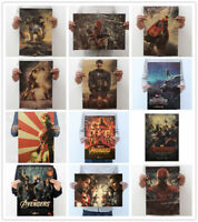 Avengers Spiderman Thor Iron Man Hulk Kraft Paper Poster Bar Retro Decor Picture