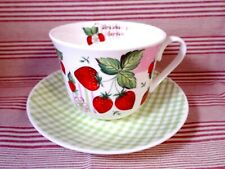 ROY KIRKHAM China BREAKFAST CUP & SAUCER Set STRAWBERRY GARDEN Boxed