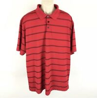 Champion Golf Duo Dry Red Striped Short Sleeve Shirt Size XXL 2XL