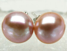 Big 11-12mm Natural Lavender Akoya Cultured Bread Pearl Silver Stud Earrings AAA