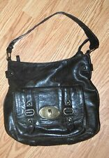 CLARKS deep Olive army green leather hobo satchel latch shoulder bag purse tote