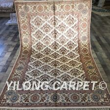 Yilong 5'x8' Handmade All Over Silk Area Rug Geometric Hand Knotted Carpet W200C