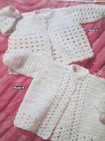 Vintage Knitting Pattern baby Crochet Matinee Coats Size 3/6 Months  DK