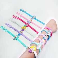 New 6 PCS Mermaid Silicone Bracelet PVC Wristband Kids Gift Adjustable Bangle