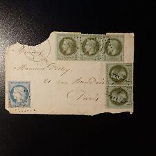 NAPOLÉON N°25 PAIRE + BANDE DE 3 CÉRÈS N°37 DEVANT LETTRE GC 831 CHAILLAC IND 12