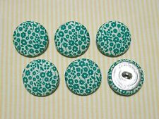 6 Teal Forest Fabric Covered Buttons - 30mm