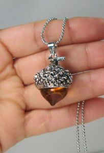 AMBAR GLASS ACORN NECKLACE PENDANT ANTIQUE SILVER WITH LONG CHAIN