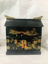 ANTIQUE VINTAGE JAPANESE BLACK GOLD LACQUERED MUSIC JEWELRY TRINKET WOOD BOX