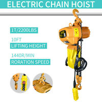 NEW Electric Chain Hoist 2200 lb. Electric Crane Hoist HD Super 1 Ton 10ft Lift