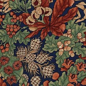 Riversong Cotton Fabric RJR Navy  Foliage Thimbleberries Lynette Jennings