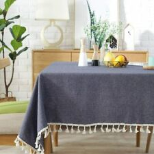 Lahome Solid Color Tassel Tablecloth Cotton Linen Rectangle Table Cover Kitchen