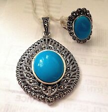 Faux Turquoise & Marcasite Sterling Silver Pendant & Ring Size 8 Set
