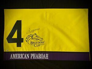AMERICAN PHAROAH VICTOR ESPINOZA SIGNED BREEDERS'CUP SADDLE CLOTH HORSE RACING