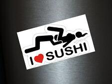 1 x Aufkleber I Love Sushi Autoaufkleber Sticker Fun Gag Tuning Shocker Kleber