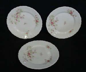 """LOT of 3 ANTIQUE FLORAL ND & Co Carlsbad China Austria DINNER PLATE ~ 9"""""""