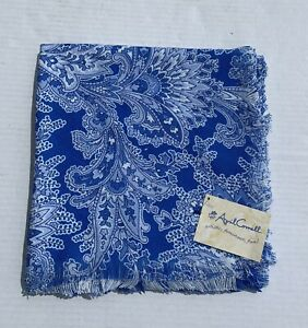 """April Cornell Tablecloth Blue White Provence 51.5""""x51.5"""" Floral French Colonial"""