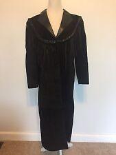Womens Vintage Diamond Leather Black Trench Coat Fringe Western Wear Black USA
