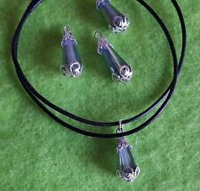 """Leather Cord Necklace 16"""" With Austrian Crystal Capped Gem + Free Gift Bag"""