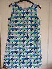 BODEN PHYLLIS DRESS COTTON SHIFT BLUE SCALLOPS UK 10 REG, EUR 36-38, US 6. WH809