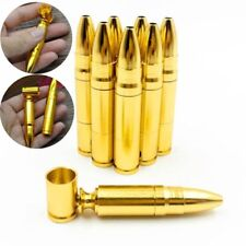Mini Aluminum Bullet Shape Snuff Snorter Tobacco Pipe Smoking Metal Screw Gift