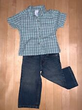 Wonder Kids Short Sleeve Flannel Button Down Top & Levi's Blue Jean Set 18M Used