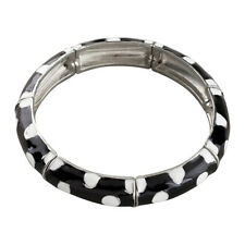 Black and White Enamel Bangle Stretch Bracelet with Silver Accents