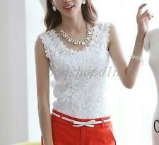 Ladies Lace Tank Top Sleeveless T-shirt Vest Camisole Blouse Tee Tops White US L