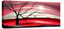 """LARGE MODERN LANDSCAPE PAINTING CANVAS RED PINK 44x20"""""""