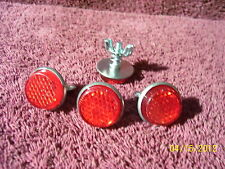 RED REFLECTORS AUTO LICENSE PLATE FORD CHEVY BUICK OLDS DODGE AMC JEEP ACCESSORY