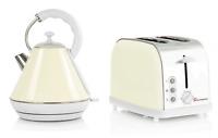 1.8L Large Cordless Jug Electric Kettle & 2 Slice Wide Slot Toaster Set Cream