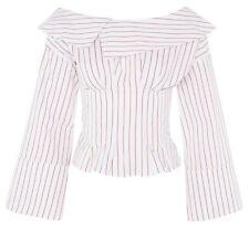 Topshop Stripe Corset Bardot Top Blouse Red White New Size 6