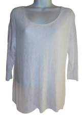 Lovely White Eileen Fisher Round Neck 3/4 Sleeve Linen Pullover - Petite Large