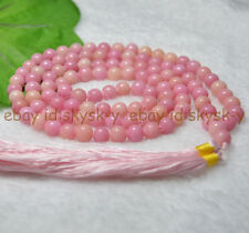 Handmade 8mm Tibetan Buddhism 108 pink Ruby Prayer Bead Mantra Mala Necklace