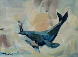 JOSE TRUJILLO Oil Painting IMPRESSIONISM ORIGINAL WHALE SURREALIST ART SIGNED