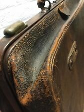 Leather Gladstone Bag Case Luggage Vintage Old Well Travelled Large - Doctors
