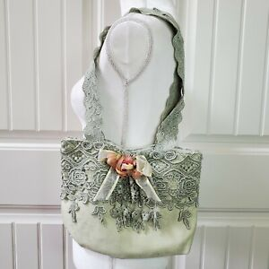 Handmade Fabric Shoulder Bag Green Lace Flower Bow Lined Cottagecore Boho Chic