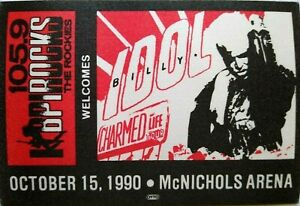 Billy Idol Charmed Life Backstage Pass Original 1990 Rock Concert New Wave Punk