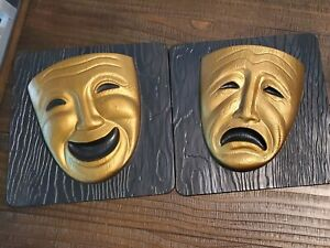 1955 Miller Studio Tragedy Comedy Mask Wall Hangings Plaque Vintage Mid Century
