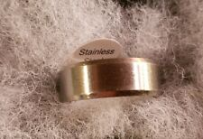 Stainless Steel  Men's Women's Ring Band Silver toned sz 10