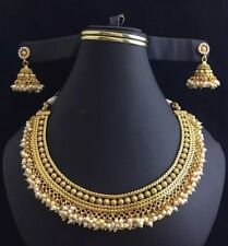 Indian Bollywood Fashion Jewelry Necklace Set Ethnic Gold Plated Traditional Set