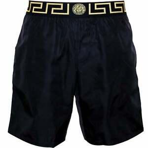 Versace Iconic Luxe Longer-Length Men's Swim Shorts, Black/gold