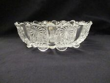 Vintage Fenton Clear Glass Daisy Button Panel Pattern Footed Oval Bowl