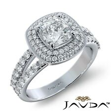 2ctw Double Halo Sidestone Cushion Diamond Engagement Ring Gia F-Vvs1 White Gold