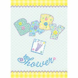 "Baby Shower Party Supplies ""Pastel Baby Stitching"" Invitations Pack of 8 + Env"
