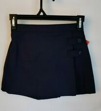 Dennis Girls H4.5 (4X) Navy Double Tab Front Pleat Skirt Skort, School Uniform