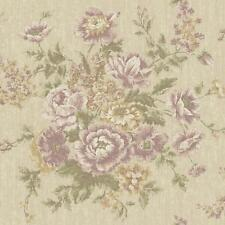 Wallpaper Designer Purple Lavender Green Rose Floral Faux Tapestry on Tan Faux