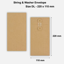 More details for dl size quality string and washer envelopes button tie brown manilla cheap