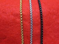 "3MM 16""-60"" GOLD ,SILVER,BLACK STAINLESS STEEL SMOOTH BOX ROPE CHAIN NECKLACES"