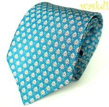 SALVATORE FERRAGAMO aqua blue with white & orange OCTOPUS silk MENS tie NWT Auth
